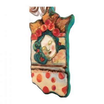Clay Portrait Sculpted Ornament  Art Deco